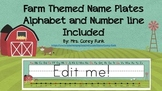 Farm Themed Name Plates with Number line and Alphabet
