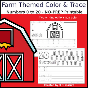 Farm Themed Number Color and Trace