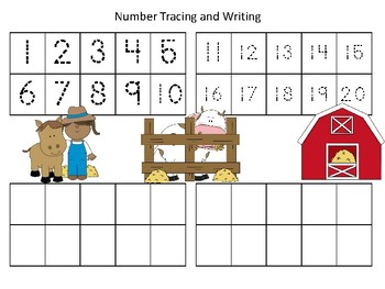 Farm Themed Number Tracing & Writing