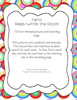 Farm Themed Read and Write the Room