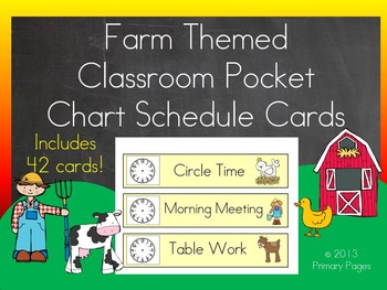 Farm Themed Schedule Cards for Pocket Charts