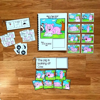 Farm Themed Sentence Builder Book:  What Is Piggy Doing?