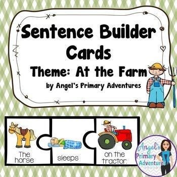 Sentence Builder Cards:  Farm Themed