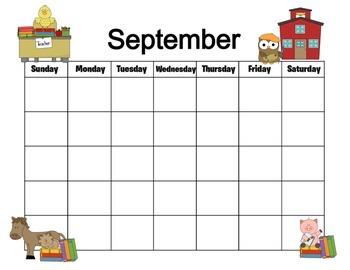 Farm Themed September Calendar