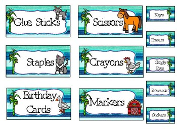 Farm Themed Tool Box Labels