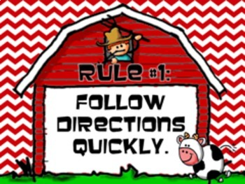 Farm Themed Whole Brain Teaching Rule Posters