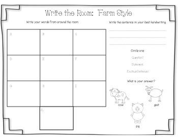 Farm-Themed Write the Room