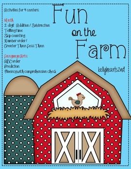 Farm Time Literacy and Math Stations Pack