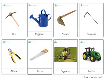 Farm Tools *SPANISH* - Montessori 3-part-cards