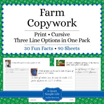 Farm Unit - Copywork - Print and Cursive - Handwriting