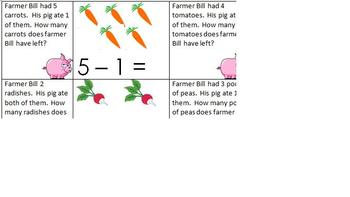 Farm Unit Pig Subtraction Cards With Record Sheet