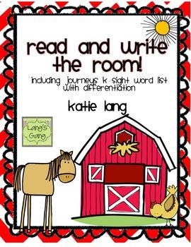 Farm Unit Read and Write the Room-Kindergarten Word List