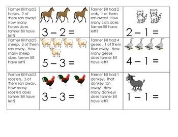 Farm Unit Subtraction Cards