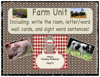 Farm Unit: Write the Room, Word Wall, & Sight Word Sentences