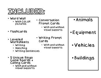 Farm VOCABULARY UNIT (SPED/Autism/Elementary)