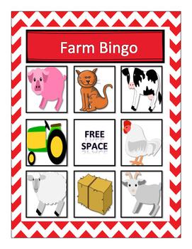 Farm Vocabulary Bingo