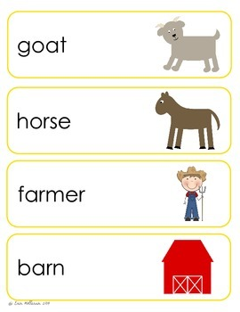 Farm Vocabulary Cards and Spelling Practice