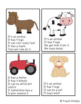 Farm Vocabulary & Clue Cards