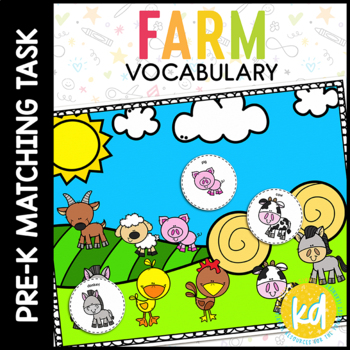Farm Vocabulary Matching Folder Game for Early Childhood Special Education