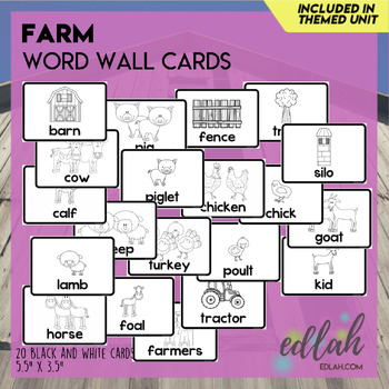 Farm Vocabulary Word Wall Cards (set of 20) - Black & White Version