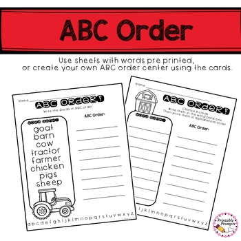 Farm Vocabulary Word Wall Words, ABC Order, and Activities