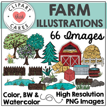 Farm Watercolor Clipart by Clipart That Cares