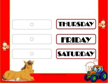 Farm Weekday Chart! Farm Bulletin Board! Farm Theme Classroom! Farm Days!