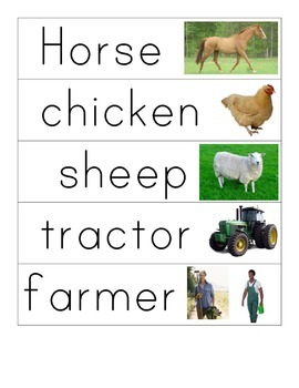 Farm Word Cards - Clipart and Realistic Images