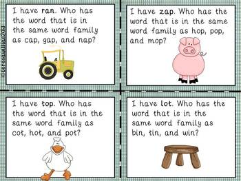 Farm Word Families I Have...Who Has Game