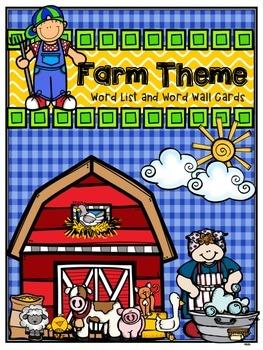 Farm Word List and Word Wall Cards