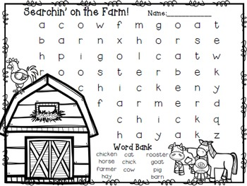 Farm Word Search Freebie