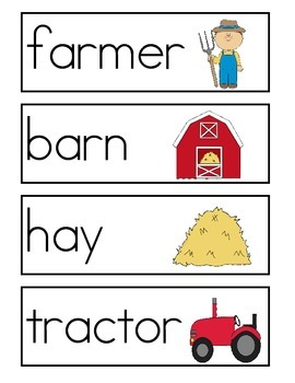 Farm Word Wall Vocabulary Cards