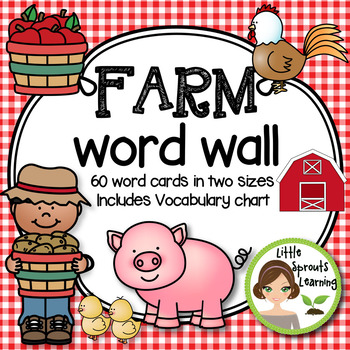 Farm Word Wall - 60 word cards in two sizes plus Vocabulary Chart (Word list)