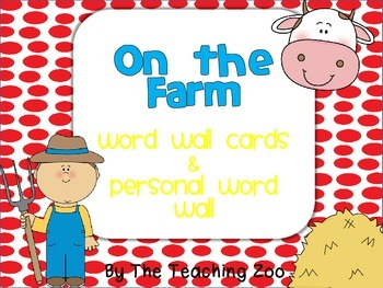Farm Word Wall Cards & Personal Word Wall