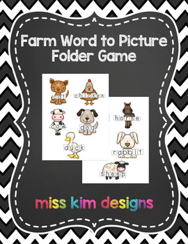 Farm Word to Picture Reading Folder Game for Early Childhood Special Education