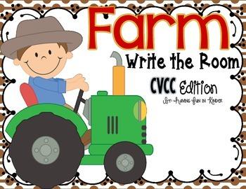 Farm Write the Room - CVCC Words Edition
