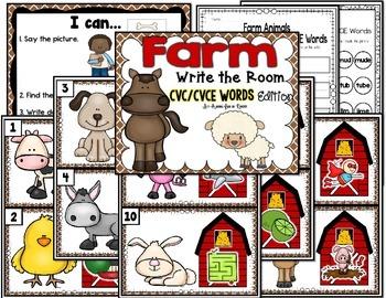 Farm Write the Room - CVC/CVCE Words Edition