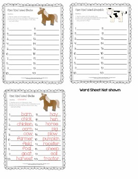 Farm Words - Learning Center Freebie