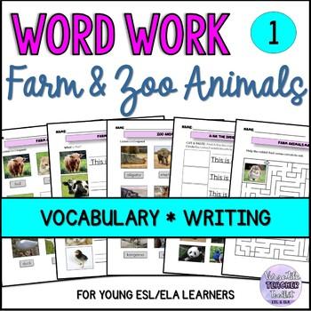 Farm and Zoo Animals Vocabulary Activities and Word Walls BUNDLE (ESL/ELA)