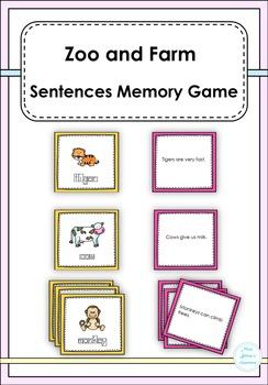 Zoo and Farm Sentences Memory Game