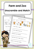 Farm and Zoo Unscramble and Match