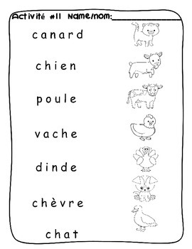 Farm animal / A la ferme FRENCH Worksheets