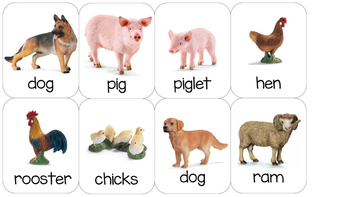Farm animal Montessori matching cards