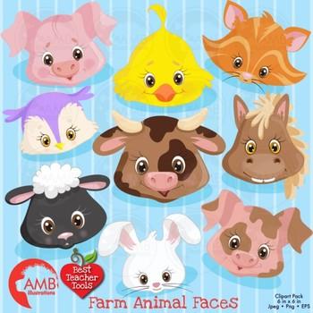 Farm Clipart, Animal Faces Clipart,  {Best Teacher Tools} AMB-272