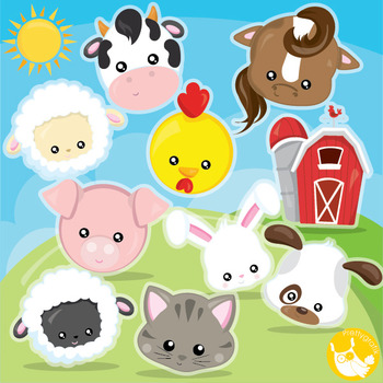 Farm animal faces clipart commercial use, vector graphics, digital  - CL1000