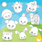 Farm animal faces stamps commercial use, vector graphics, images  - DS1000
