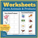 Farm animal products:  Cut, sort and paste activity