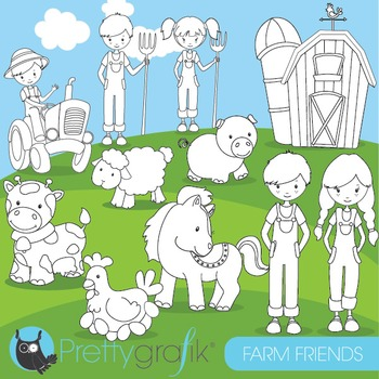 Farm animal stamps commercial use, vector graphics, images - DS614
