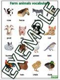 Farm animal vocabulary