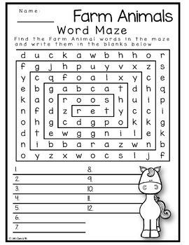 Farm animal word search